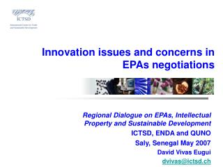 Innovation issues and concerns in  EPAs negotiations