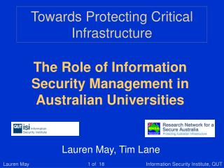 Towards Protecting Critical Infrastructure