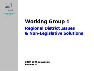 Regional District Issues & Non-Legislative Solutions