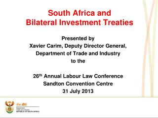 South Africa and  Bilateral Investment Treaties