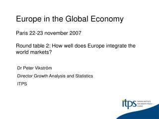 Dr Peter Vikström Director Growth Analysis and Statistics  ITPS