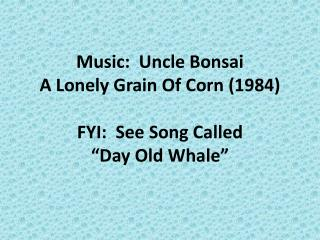 "Music:  Uncle Bonsai A Lonely Grain Of Corn (1984) FYI:  See Song Called  ""Day Old Whale"""