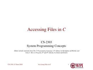 Accessing Files in C