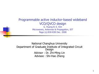 National Changhua University  Department of Graduate Institute of Integrated Circuit Design