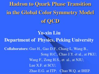 Hadron to Quark Phase Transition  in the Global Color Symmetry Model  of QCD