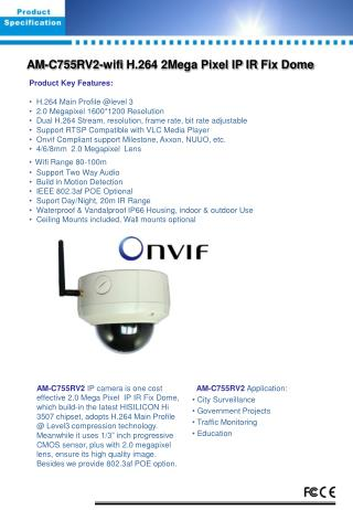 AM- C 755 RV2-wifi  H.264 2Mega Pixel IP  IR  Fix Dome