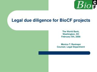 Legal due diligence for BioCF projects