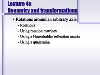 Lecture 4c Geometry and transformations