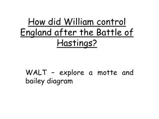 How did William control England after the Battle of Hastings?