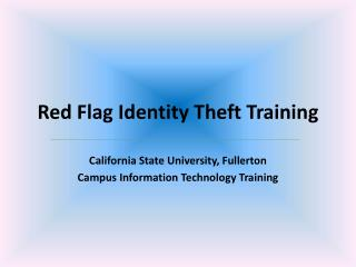 Red Flag Identity Theft Training