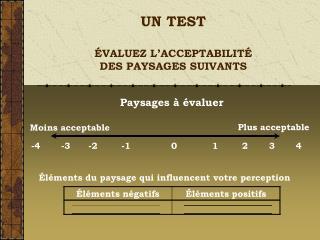 UN TEST  �VALUEZ L�ACCEPTABILIT� DES PAYSAGES SUIVANTS