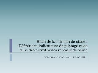 Halimata NIANG pour RESOMIP
