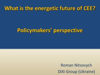 What is the energetic future of CEE? Policymakers' perspective