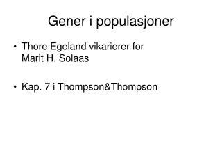 Gener i populasjoner