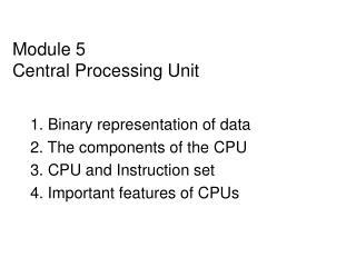Module 5 Central Processing Unit