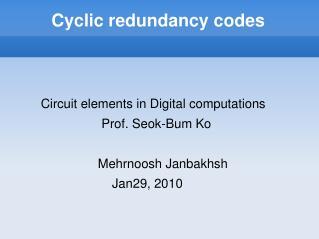 Cyclic redundancy codes