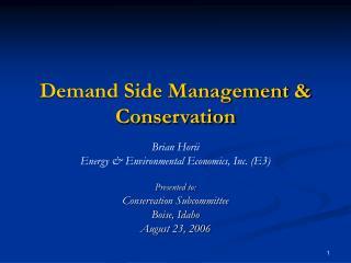 Demand Side Management & Conservation
