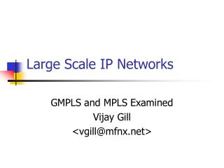 Large Scale IP Networks