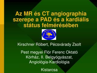 Az MR  s CT angiographia szerepe a PAD  s a kardi lis st tus felm r s ben