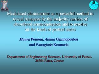 Maura  Pomoni,  Athina  Giannopoulou  and  Panagiotis  Kounavis