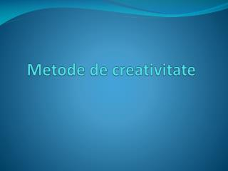 Metode de creativitate