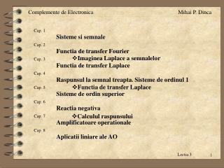Cap. 3 Functia de transfer Laplace