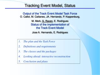 Tracking Event Model, Status