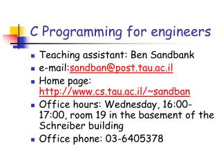 C Programming for engineers