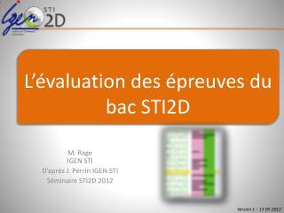 M. Rage IGEN STI D'après J. Perrin IGEN STI Séminaire STI2D 2012