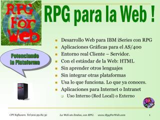 Desarrollo Web para IBM iSeries con RPG Aplicaciones Gráficas  para el AS/400