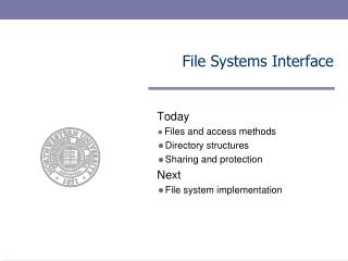 File Systems Interface