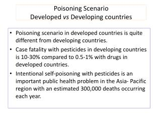Poisoning Scenario Developed  vs  Developing countries