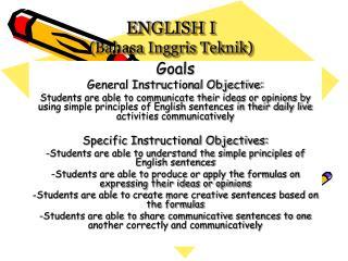 ENGLISH I (Bahasa Inggris Teknik)