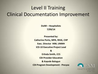 Level II Training Clinical Documentation Improvement