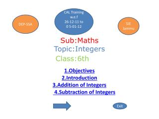 Sub:Maths Topic:Integers Class:6th