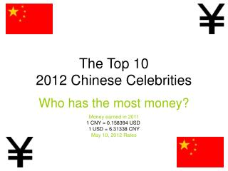 The Top 10  2012 Chinese Celebrities