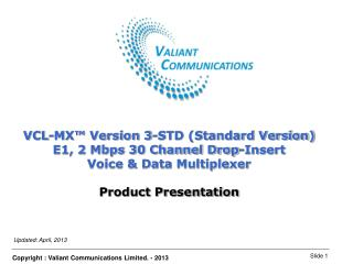VCL-MX™ Version 3-STD (Standard Version) E1, 2 Mbps 30 Channel Drop-Insert
