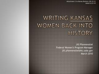 Writing  Kansas  Women back into history