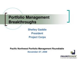 Portfolio Management Breakthroughs