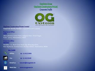 OxyGreen Group OxyGreen Constructions Pvt.Ltd. Corporate Profile