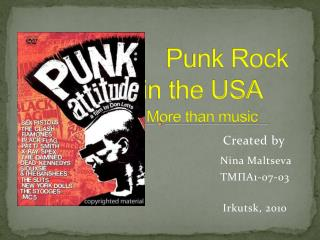 Punk Rock                  in the USA More than music