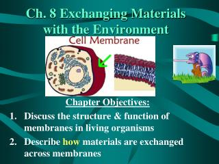 Ch. 8 Exchanging Materials with the Environment