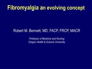 Fibromyalgia a n evolving concept