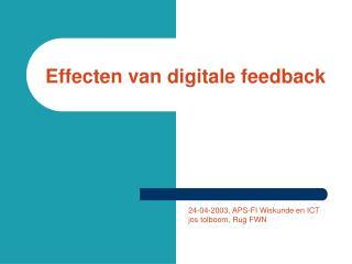 Effecten van digitale feedback