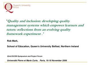 Rob Mark, School of Education, Queen's University Belfast, Northern Ireland