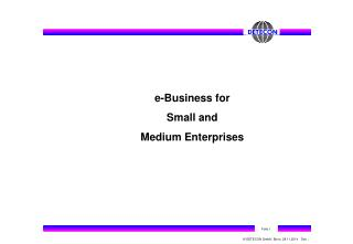 e-Business for  Small and Medium Enterprises