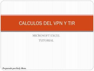 CALCULOS DEL VPN Y TIR