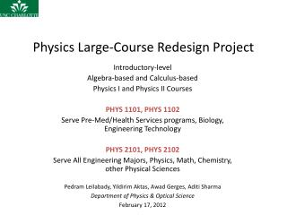 Physics Large-Course Redesign Project
