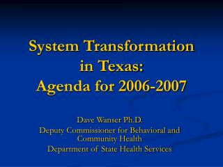 System Transformation  in Texas: Agenda for 2006-2007