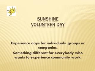 Sunshine volunteer day